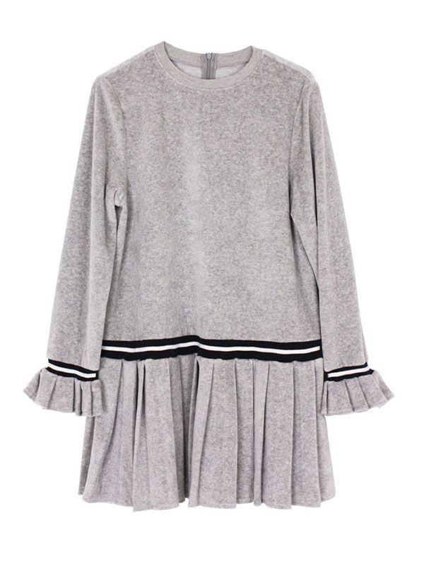 margarin fingers band pleats one piece_gray