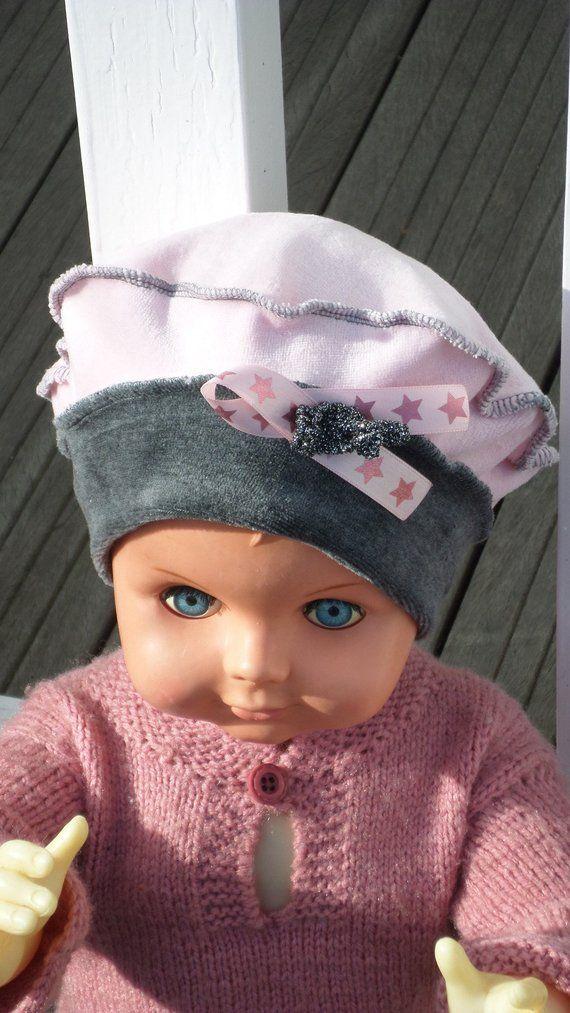 Bonnet béret chapeau  bébé fille  lin eva kids en jersey velours coton gris  et rose  nouvelle collection automne hiver 2018   BONNETS BÉBÉ   Pinterest  ... bcd866a1fe1