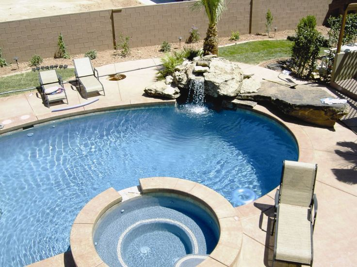 swimming pool Nice Swimming Pool With Circle Jacuzzi And Sun Loungers How to Determine the Great Pool Builders