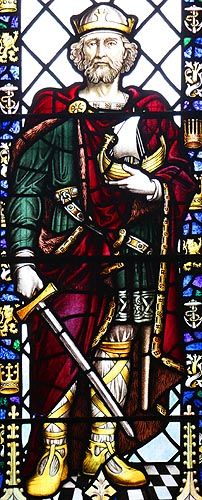 Alfred The Great, King of Wessex AD 871. He was a remarkable and pious man who brought a new order to the Kingdom following his defeat of the Danes. His son built New Minster at Winchester as a family mausoleum to house his tomb.