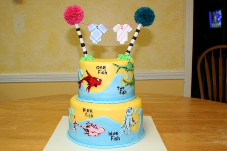 One Fish Two Pink Blue Congratulations Tabitha On Your  cakepins.com