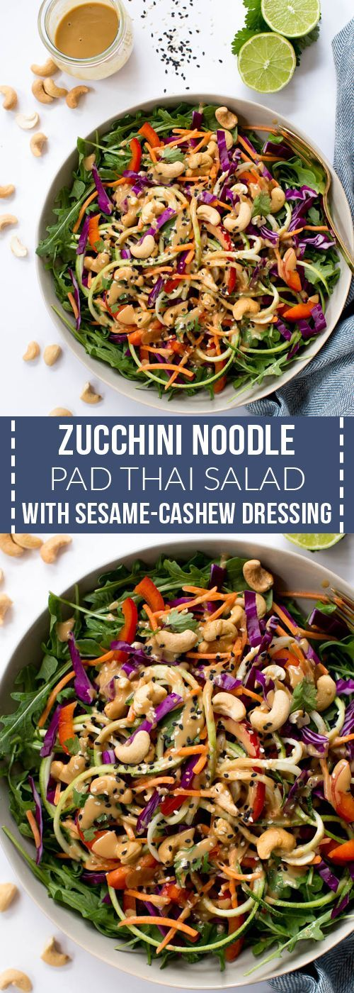 Zucchini Noodle Pad Thai Salad with Sesame-Cashew Dressing is made with the freshest raw ingredients including carrots, zucchini, cabbage, arugula, red peppers and a creamy sesame-cashew dressing!