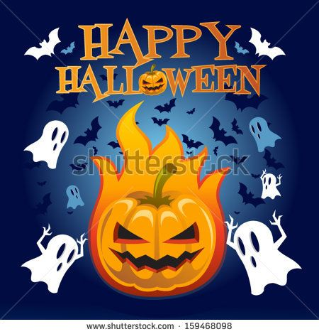 Happy Halloween, Pumpkin, Bats and Ghosts Vector illustration