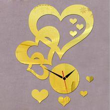 2015 new 3d fai da te vintage specchio orologio da parete amore a forma di cuore design sticker orologio da parete decorazione della casa reloj pared spedizione gratuita(China (Mainland))