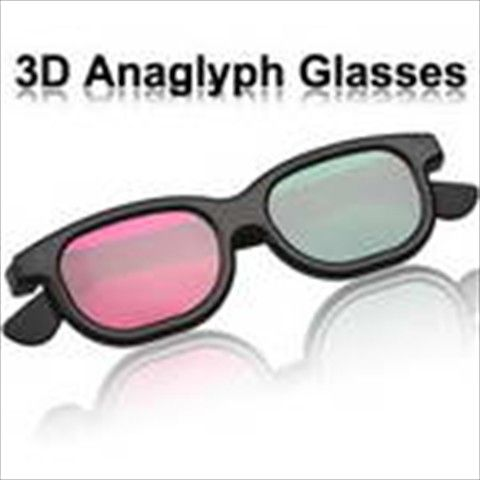 Authentic Green+ Magenta Flat Face 3D 3 Dimensional Movie DVD Anaglyph Glasses