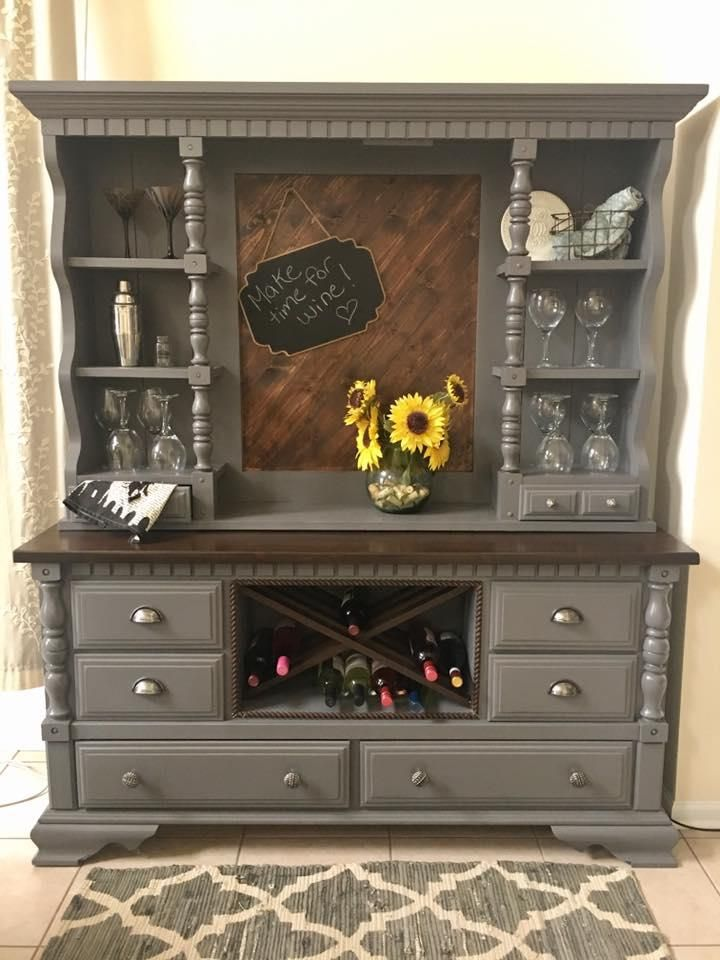"""""""Solid, and extremely useful two-piece hutch. They don't make them like this anymore... It has been finished with General Finishes Milk Paint in Driftwood, and High Performance Topcoat Satin. The top surface, wine rack, and back wall have been stained in a color by Varathane, named Kona."""" - By Michelle"""