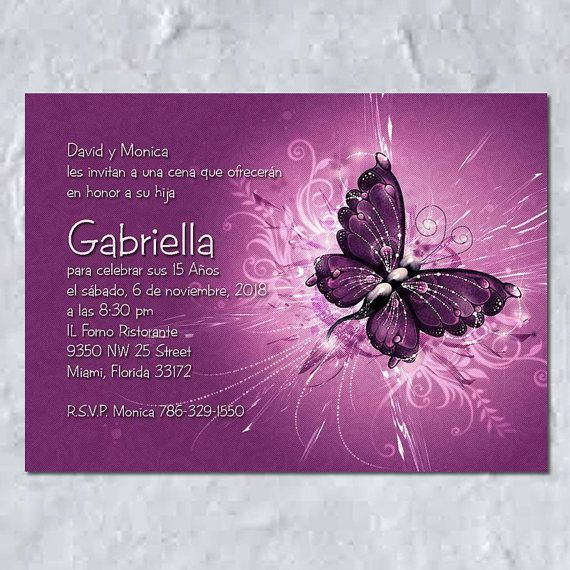Quinceañera Butterfly invitations printed in heavy by LeslieStore, $28.75