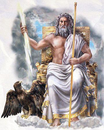 Зевс-бог мира, муж богини Геры и отец Афродиты и Афины.Брат Аида и Посейдона(Нептуна),сын Кноса.
