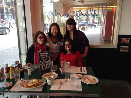 This might be my favorite thing ever: San Francisco Forever YA-ers on a Scavenger-esque YA Photo Hunt! I love these women! I love Mel's Diner! Gloria Bishop would love this whole scenario! Captioned by SF FYA: Breakfast Served Anytime (the phone says 6:30 PM) Bonus landmark: Mel's Drive-In, home of American Graffiti and other films