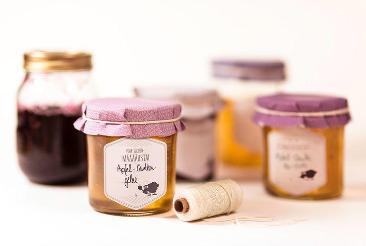Etiketten - Marmeladenset 2 (Klebeetiketten, Deckelhauben &... - ein Designerstück von catsonappletrees bei DaWanda