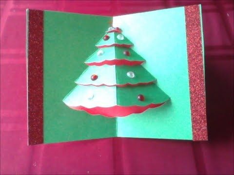 How To Make An Easy Popup Christmas Tree Card (difficulty 2/10)
