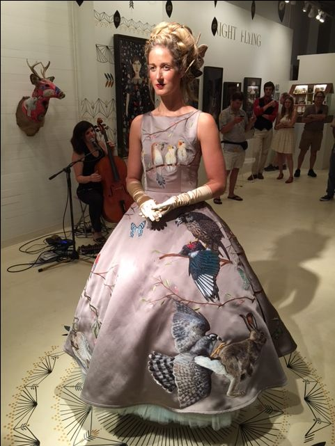 Birds of Prey dress. By Chris Roberts-Antieau Embroidery and thread painting on silk. Antieau Gallery, New Orleans.