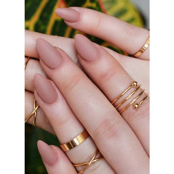 Pinky Brown Clay Nude Trendy Matte/Glossy Fake Press On Nails... ❤ liked on Polyvore featuring beauty products, nail care, nail treatments, nails and makeup