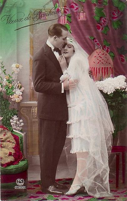 A couple of ice photos could be 'colorized' for a retro feel like this Bride and groom, c. 1920s.