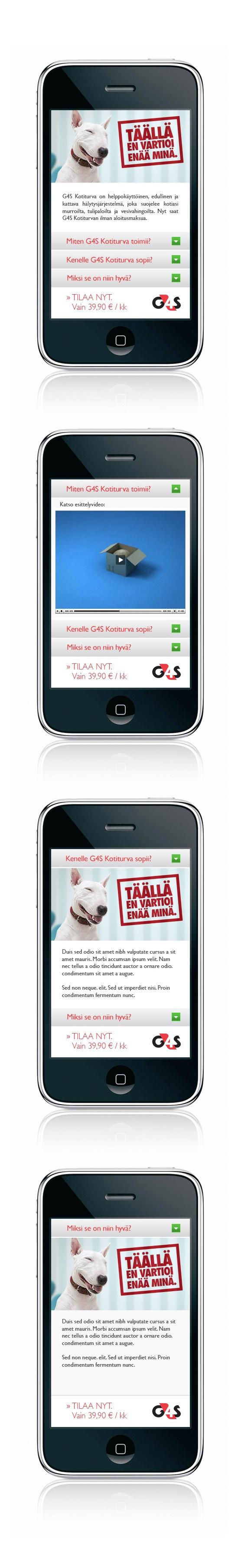 G4S B2C: 'Täällä en vartioi enää minä.' | G4S Kotiturva -palvelupaketin lanseerauskampanjan mobisaitti. Ratkaisumme päästi kotien vahtikoirat vapaalle edulliseen hintaan.  #SamiTossavainen #Mainostoimisto #Markkinointitoimisto #B2C #Mainos #Digitaalinenmarkkinointi