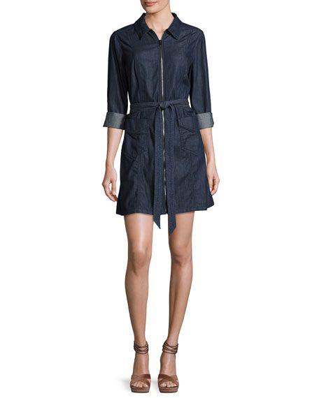 7 FOR ALL MANKIND Zip-Front Belted Denim Dress, Indigo. #7forallmankind #cloth #