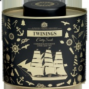 Cutty Sark Black Tea Blend in gorgeous black and gold tin. (There's a green tea version as well.)