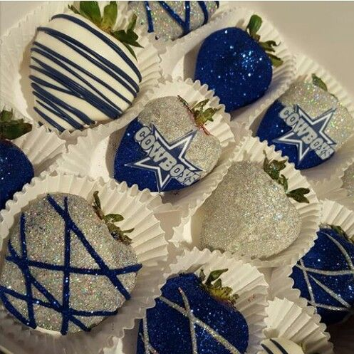 Too bad they aren't NY GIANTS themed LOL #cowboys #chocolate #covered #strawberries #blue #silver #sparkly #awesome #totallywouldeat #football #season