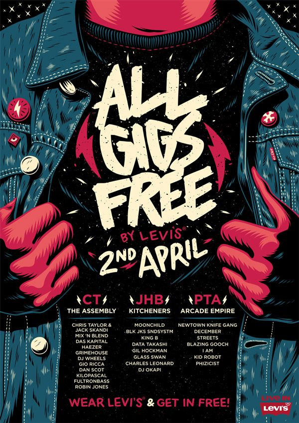 All Gigs Free: By Levi's Poster by Ian Jepson