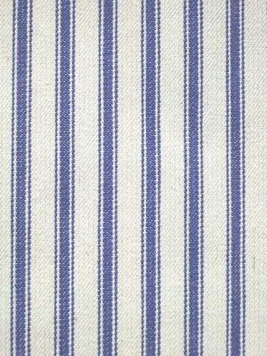 Navy blue and natural white ticking stripe cotton upholstery fabric