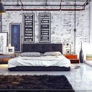 industriele bakstenen in slaapkamer