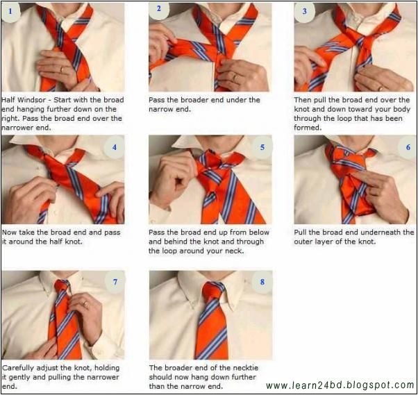 How to Tie a Half Windsor Knot Diagram   for him   Pinterest ...