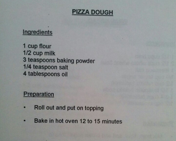 No yeast pizza dough, might have to do a trial run first!