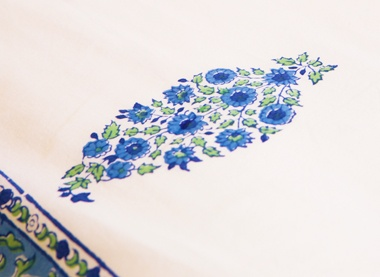 Designer Sheets - Blue Bed Sheets - Hand Block Printed from Attiser