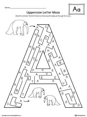 uppercase letter a maze worksheet alphabet worksheets maze worksheet letter maze alphabet. Black Bedroom Furniture Sets. Home Design Ideas