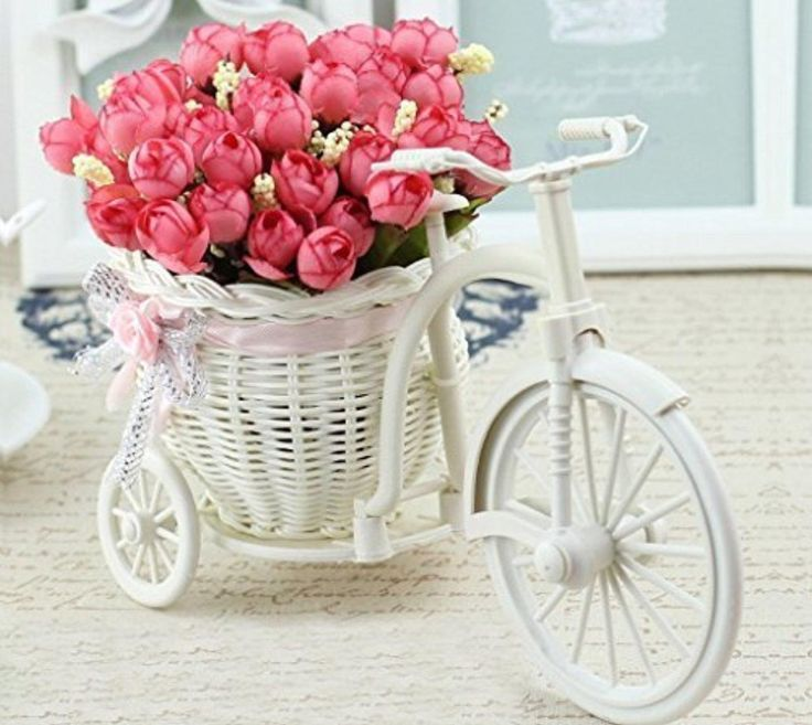 CHRISTMAS AND DIWALI GIFT Cycle Shape Flower pot with artificial flowers - Brought to you by Avarsha.com
