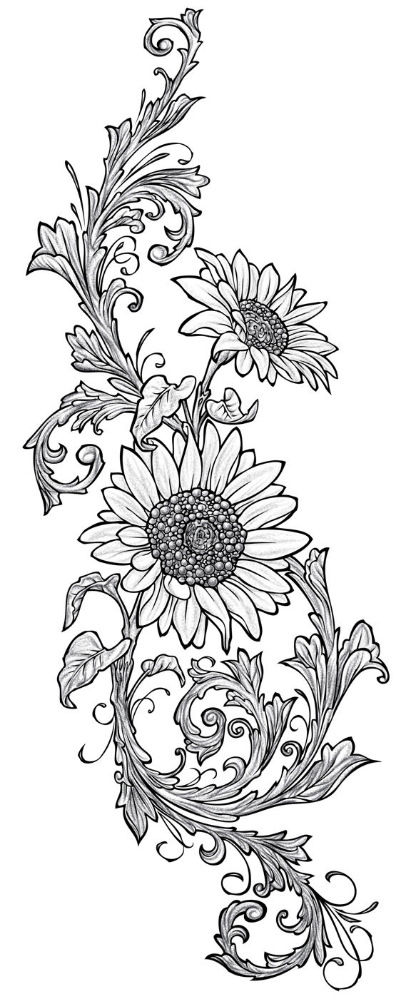 Line Drawing Sunflower Tattoo : Sunflowers used for the wood drawer file cabinet