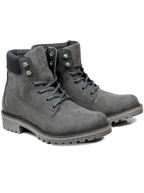 Vegan Vegetarian Non-Leather Womens Dock Boots in Grey