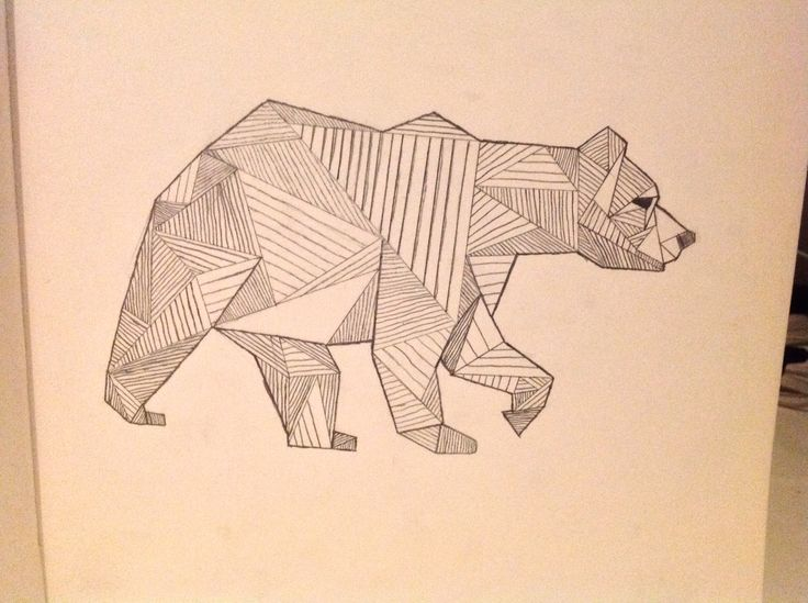 Geometric Bear Head Tattoo