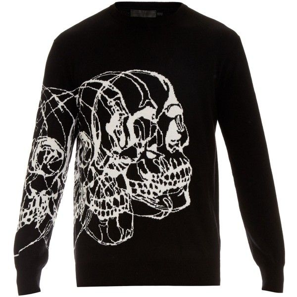 Alexander McQueen Multi-skulls intarsia-knit sweater ($440) ❤ liked on Polyvore featuring men's fashion, men's clothing, men's sweaters, black multi, mens graphic sweaters, mens skull sweater and mens knit sweater