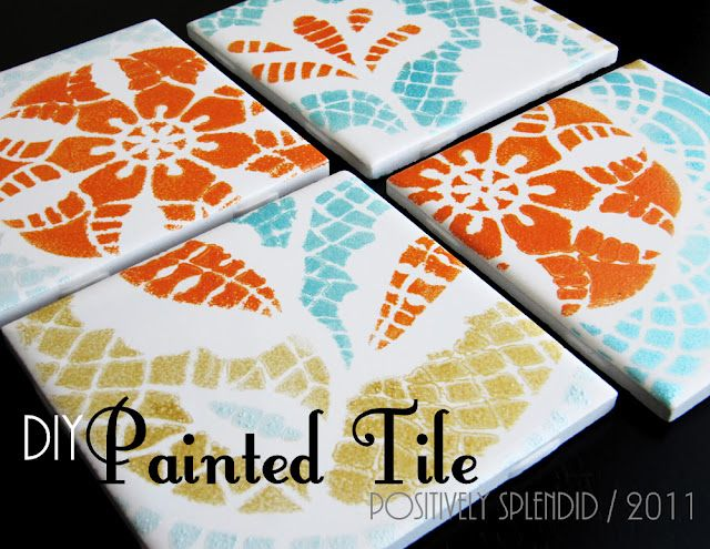 Diy painted ceramic tile tutorial diy tiles tile for Clay mural tutorial