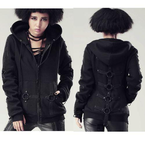 Black Studded Gothic Punk Fashion Sweat Coat Jacket Hoodies Women Men SKU-11401241