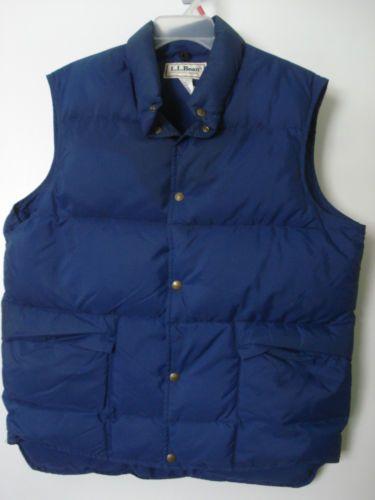 Vintage ll Bean Mens L GOOSE Down Snap Front Puffer Vest Navy Blue USA Made | eBay