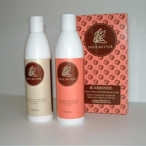 Arbonne Peach Shea Butter Hair Care Gift Set by Arbonne. $25.49. Bring the sweet scent of peach and the richness of shea butter to your hair with new Peach Shea Butter Shampoo (8 fl. oz.) and Conditioner (8 fl. oz.). Gentle, sulfate-free formulas are infused with beneficial soy proteins and amino acids to cleanse, strengthen and condition. Safe for color-treated hair. ( 8 fl. oz. each )
