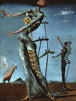 Dali a peint cette toile surréaliste lors de son exil durant la guerre civile espagnole, les femmes écorchées représentent les massacres de la guerre tant sur les corps humains que sur le psychisme. La girafe en feu , un présage apocalyptique. Par contre les tiroirs ouverts sont de L ordre psychanalyste découvert par Freud, la plus belle découverte de cette période. ils représentent nos secrets enfouis dans des tiroirs, ils renvoient à notre subconscient, inconscient et conscience.