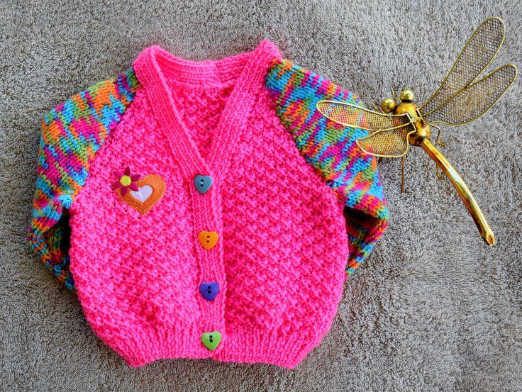 Hand knitted Baby Girl / Toddler Cardigan 3-6mths by HandmadebyAuntyTart on Etsy