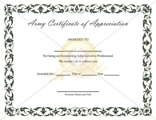 20 best images about Appreciation Certificate – Army Certificate of Appreciation