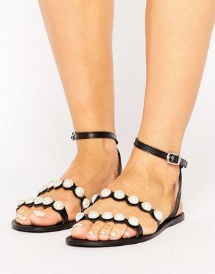 Кожаные сандалии с искусственным жемчугом ASOS FRASER