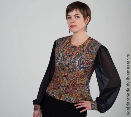 """Блузка """"Классическая"""" - пейсли,блузка из платка,павловопосадский платок"""