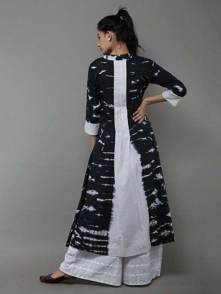 Black White Tie and Dye Cotton Dress