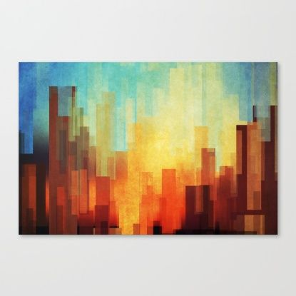 Buy Urban sunset Canvas Print by SensualPatterns. Worldwide shipping available at Society6.com. Just one of millions of high quality products available.