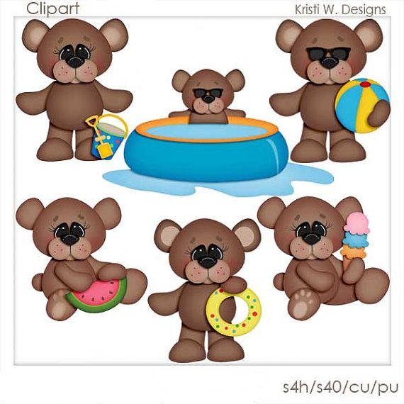 DIGITAL SCRAPBOOKING CLIPART Summer Bears by BoxerScraps on Etsy