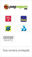 Este site aceita pagamentos com Bradesco, Itaú, Banco do Brasil, Banrisul, Banco HSBC, saldo em conta PagSeguro e boleto.