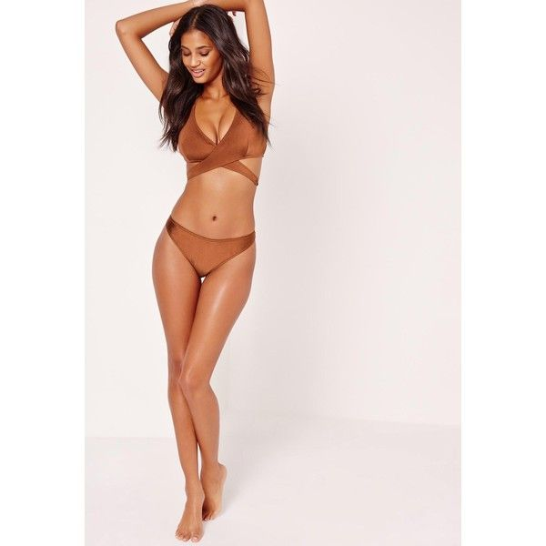 Missguided Mix and Match Cross Over Front Bikini Top Brown ($18) ❤ liked on Polyvore featuring swimwear, bikinis, brown tankini top, brown bikini top, swim suit tops, swim tops and tankini tops