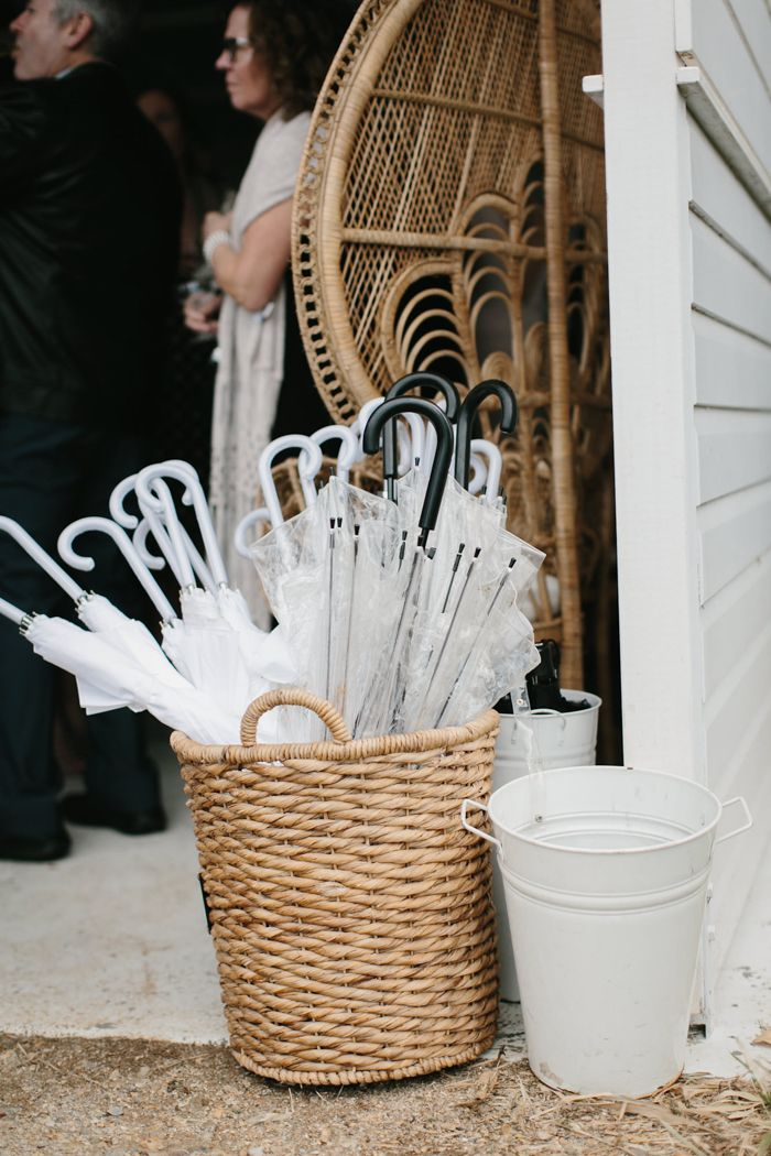 Umbrellas for an outdoor wedding ceremony   Image by Jimmy Raper Photography