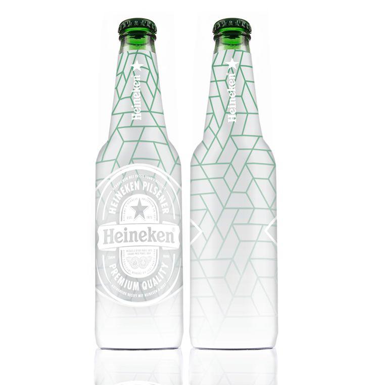 """Winner HEINEKENxEYE Design Contest   """"ontwerp voor een Limited Edition Heineken flesje, mijn ode aan een architectonische 'EYEcatcher'. Het concept sluit aan op de architectuur van het EYE filminstituut. Het inspirerende ontwerp van Delugan Meissl Associated Architects is - naast onder andere de collecties en activiteiten van het instituut - óók een belangrijke publiekstrekker. Het grafische gevelpatroon is herkenbaar en leent zich goed voor toepassing op andere objecten."""""""